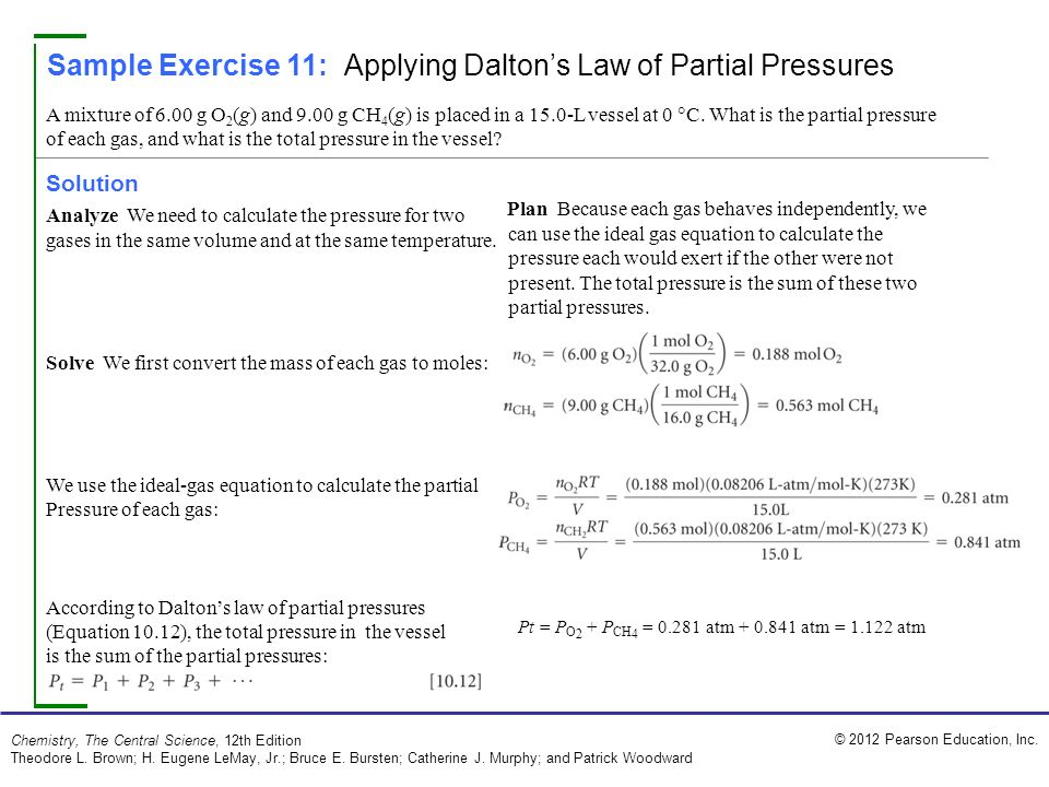 total pressure equation chemistry. 2012 pearson education, inc. chemistry, the central science, 12th edition theodore total pressure equation chemistry