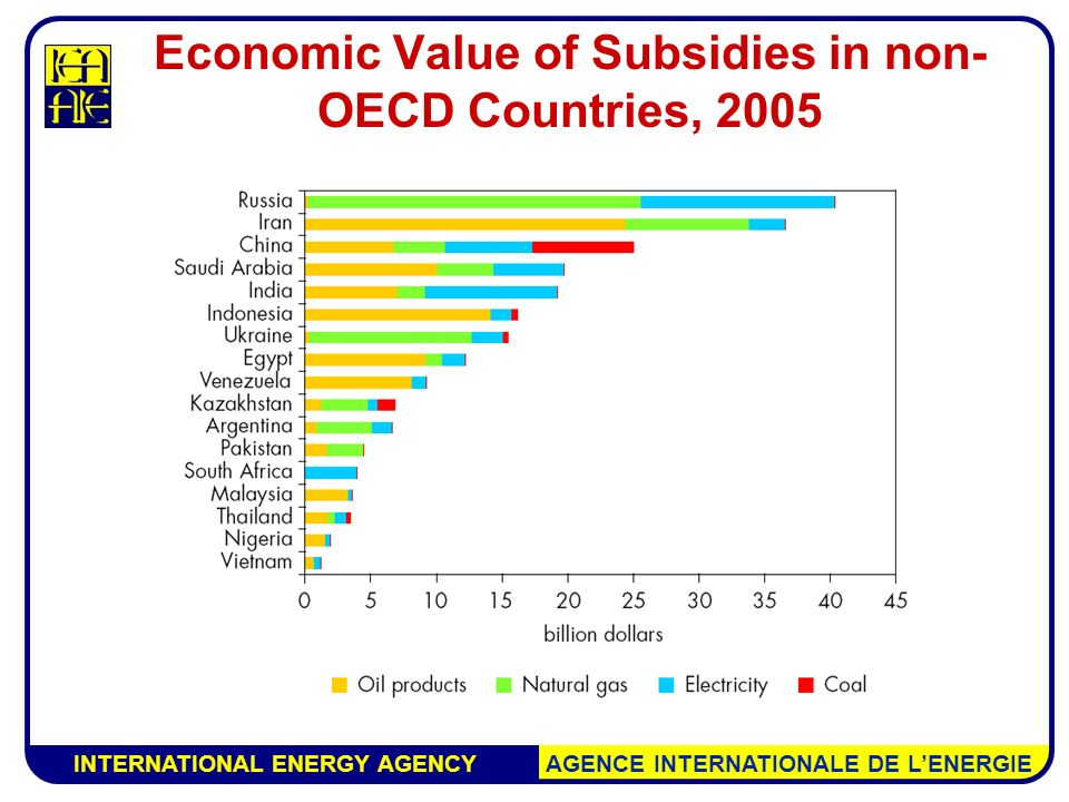 INTERNATIONAL ENERGY AGENCY AGENCE INTERNATIONALE DE L'ENERGIE Economic Value of Subsidies in non- OECD Countries, 2005