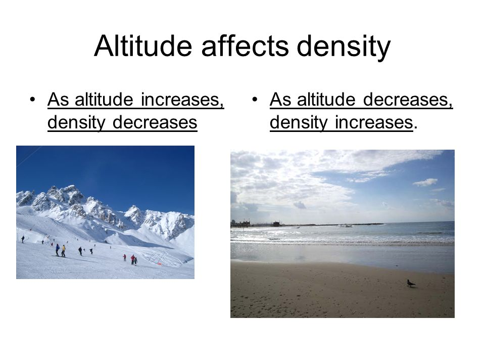 Altitude affects density As altitude increases, density decreases As altitude decreases, density increases.