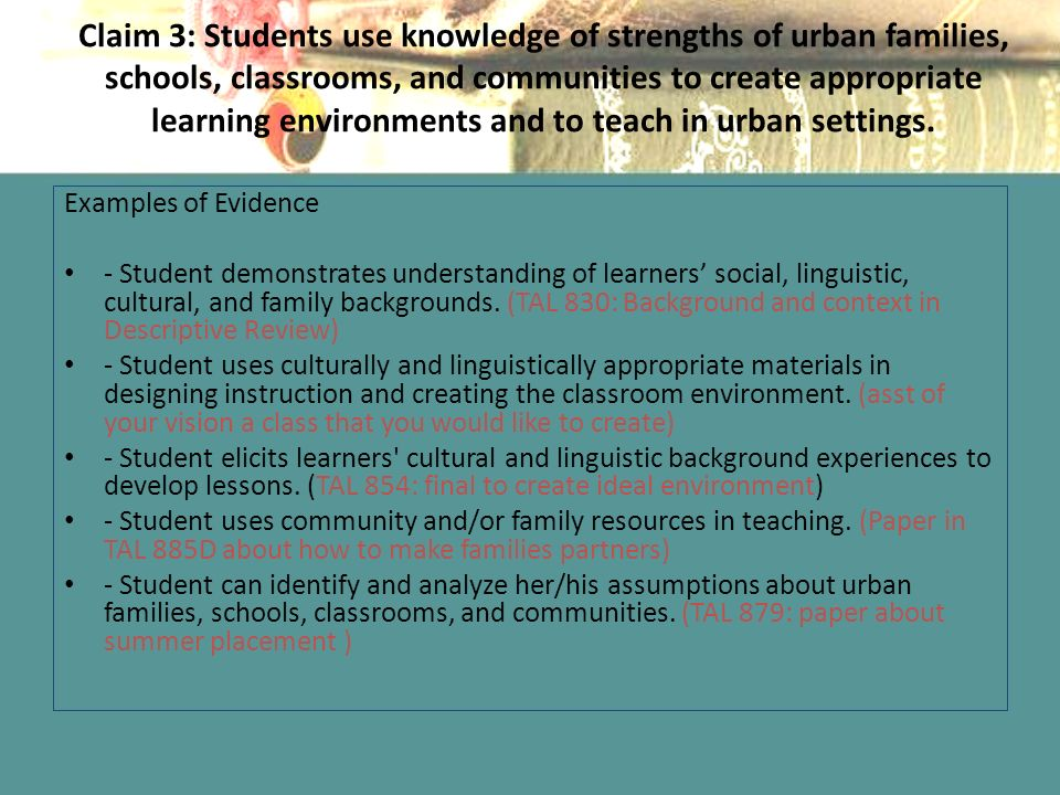 Claim 3: Students use knowledge of strengths of urban families, schools, classrooms, and communities to create appropriate learning environments and to teach in urban settings.