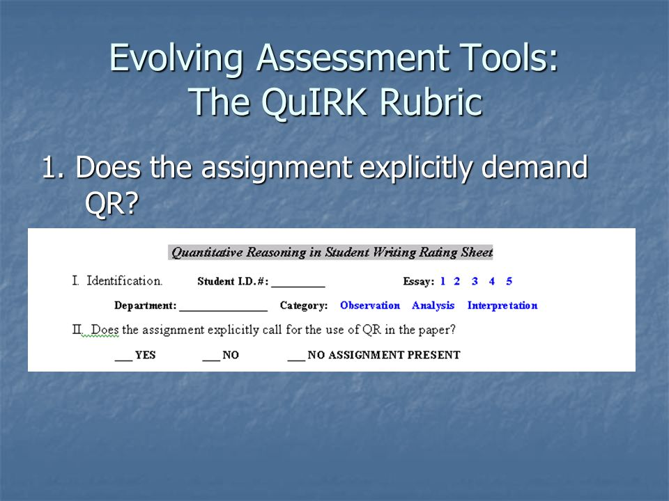 Evolving Assessment Tools: The QuIRK Rubric 1. Does the assignment explicitly demand QR