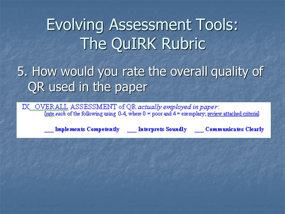 Evolving Assessment Tools: The QuIRK Rubric 5.