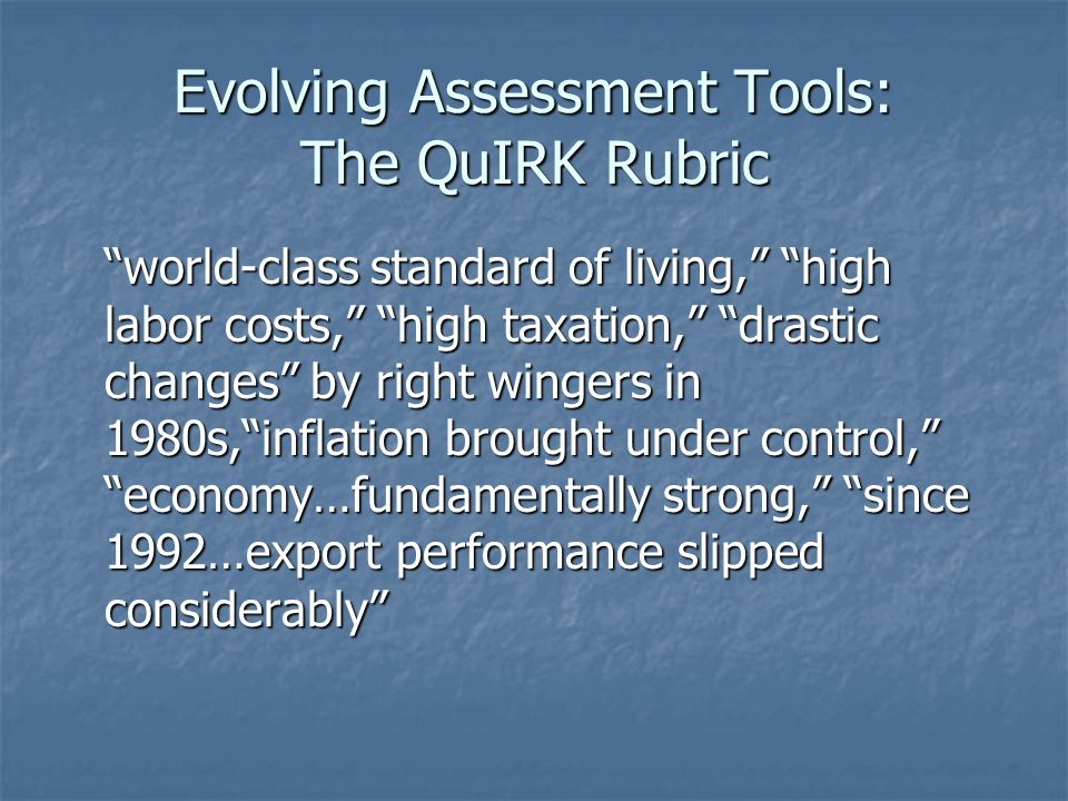 Evolving Assessment Tools: The QuIRK Rubric world-class standard of living, high labor costs, high taxation, drastic changes by right wingers in 1980s, inflation brought under control, economy…fundamentally strong, since 1992…export performance slipped considerably world-class standard of living, high labor costs, high taxation, drastic changes by right wingers in 1980s, inflation brought under control, economy…fundamentally strong, since 1992…export performance slipped considerably