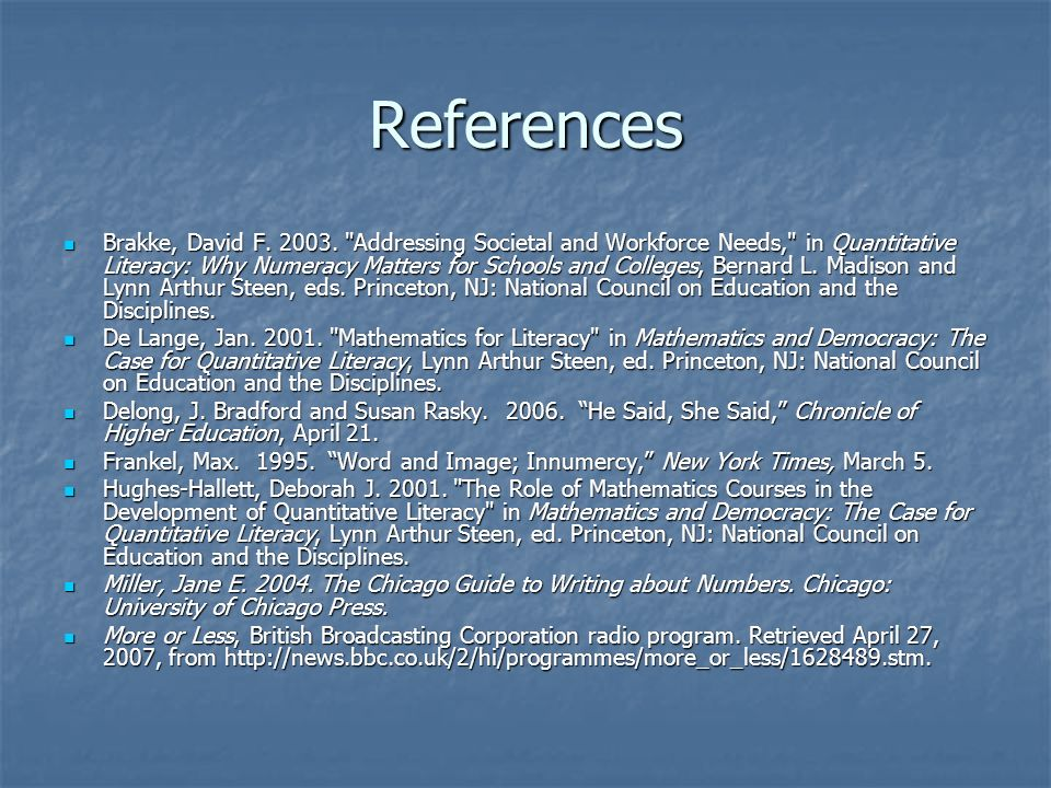 References Brakke, David F