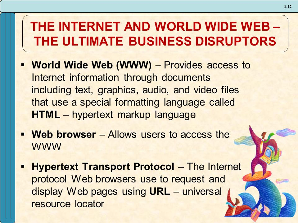 3-12 THE INTERNET AND WORLD WIDE WEB – THE ULTIMATE BUSINESS DISRUPTORS  World Wide Web (WWW) – Provides access to Internet information through documents including text, graphics, audio, and video files that use a special formatting language called HTML – hypertext markup language  Web browser – Allows users to access the WWW  Hypertext Transport Protocol – The Internet protocol Web browsers use to request and display Web pages using URL – universal resource locator
