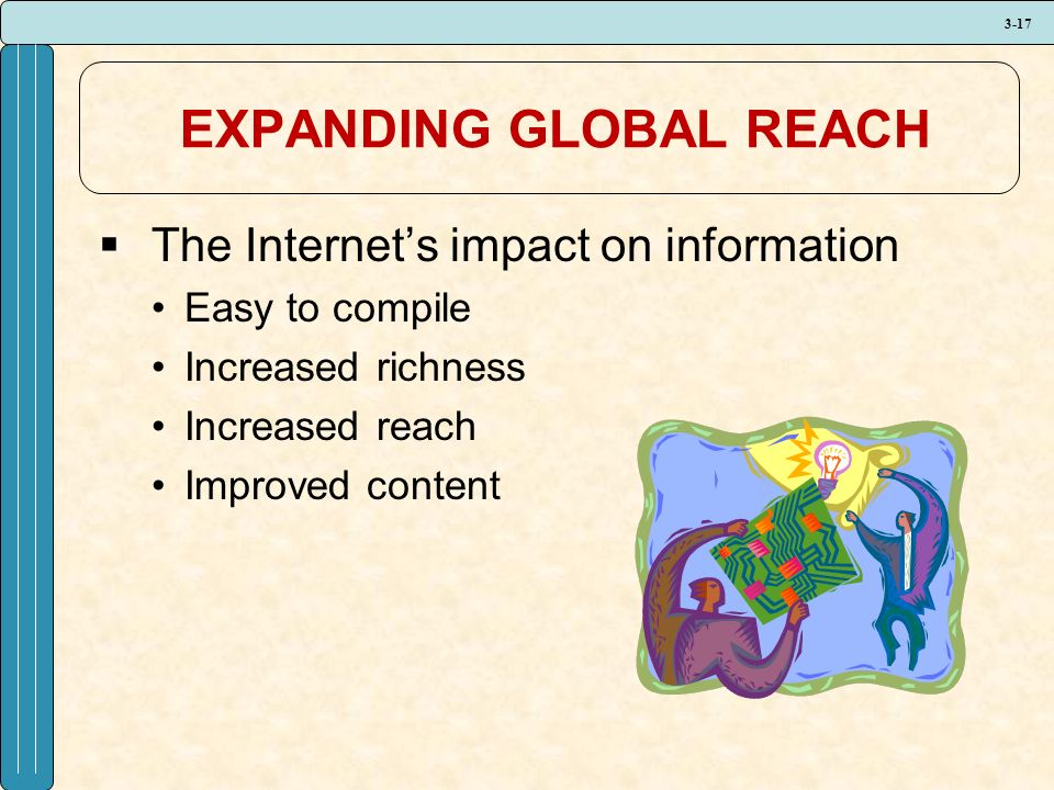 3-17 EXPANDING GLOBAL REACH  The Internet's impact on information Easy to compile Increased richness Increased reach Improved content