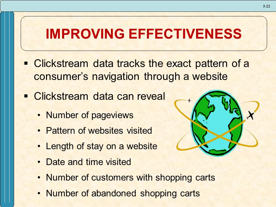 3-22 IMPROVING EFFECTIVENESS  Clickstream data tracks the exact pattern of a consumer's navigation through a website  Clickstream data can reveal Number of pageviews Pattern of websites visited Length of stay on a website Date and time visited Number of customers with shopping carts Number of abandoned shopping carts
