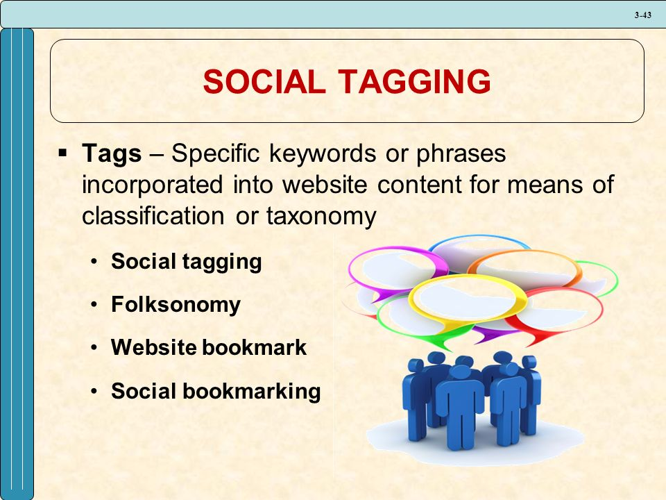 3-43 SOCIAL TAGGING  Tags – Specific keywords or phrases incorporated into website content for means of classification or taxonomy Social tagging Folksonomy Website bookmark Social bookmarking