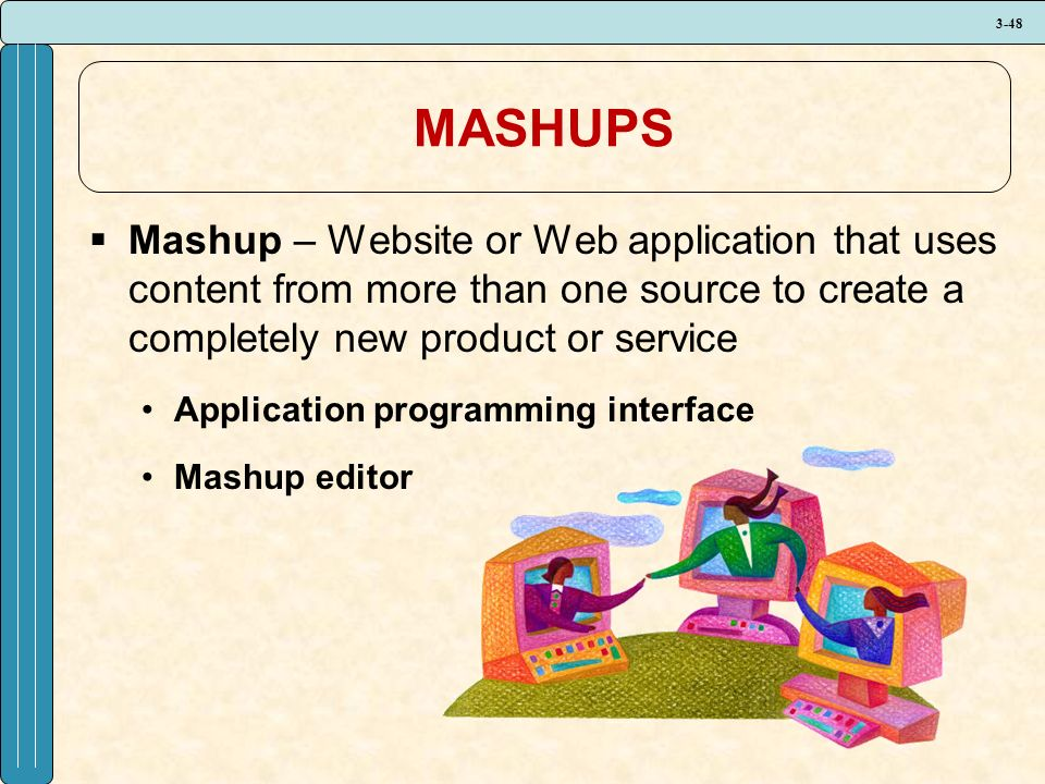 3-48 MASHUPS  Mashup – Website or Web application that uses content from more than one source to create a completely new product or service Application programming interface Mashup editor