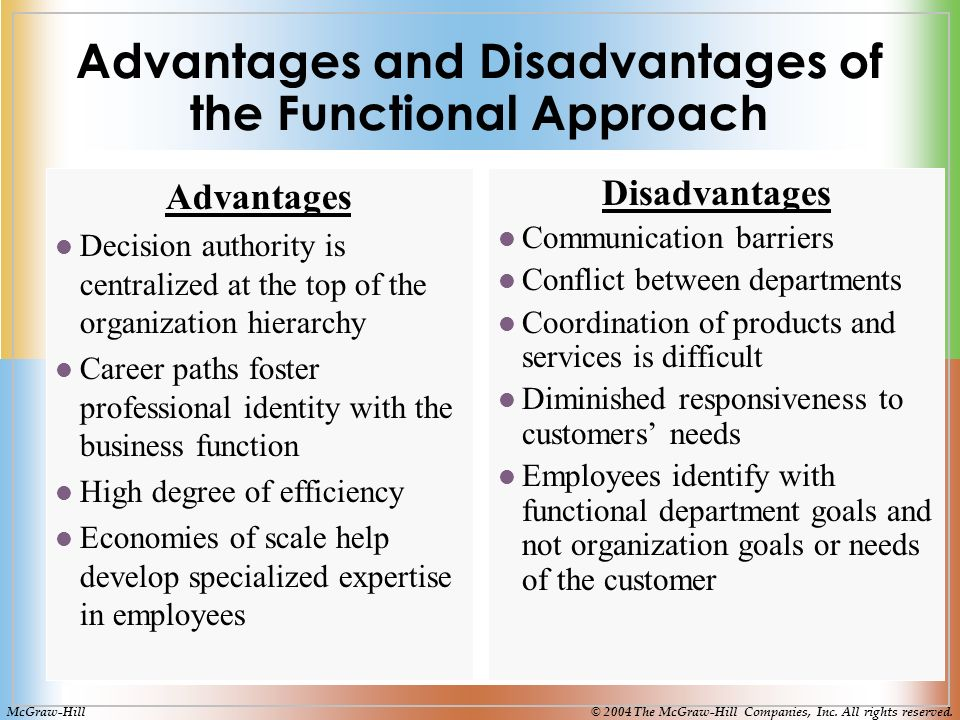 Advantages and Disadvantages of the Functional Approach Advantages Decision authority is centralized at the top of the organization hierarchy Career paths foster professional identity with the business function High degree of efficiency Economies of scale help develop specialized expertise in employees Disadvantages Communication barriers Conflict between departments Coordination of products and services is difficult Diminished responsiveness to customers' needs Employees identify with functional department goals and not organization goals or needs of the customer McGraw-Hill© 2004 The McGraw-Hill Companies, Inc.