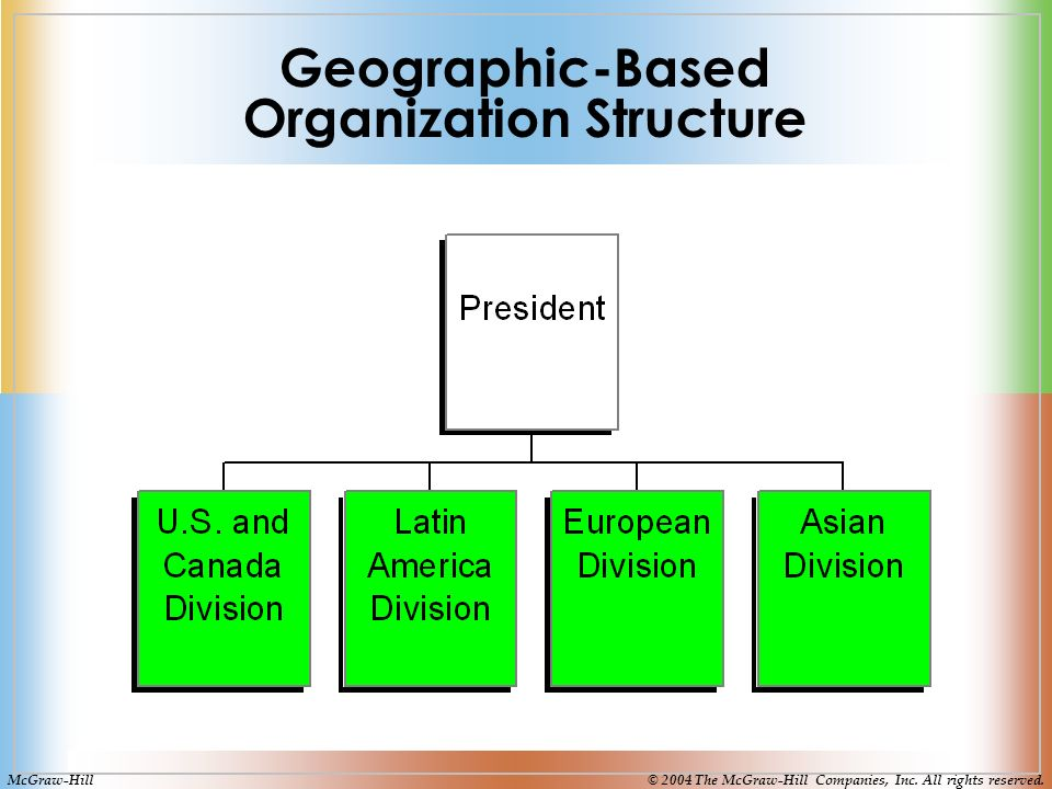 Geographic-Based Organization Structure McGraw-Hill© 2004 The McGraw-Hill Companies, Inc.