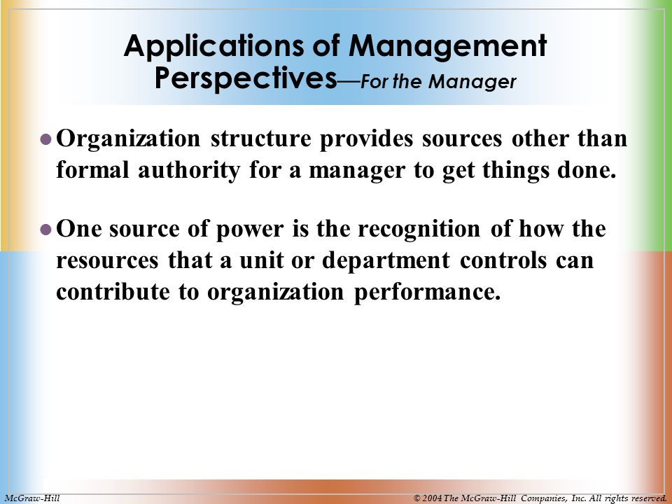 Applications of Management Perspectives — For the Manager Organization structure provides sources other than formal authority for a manager to get things done.