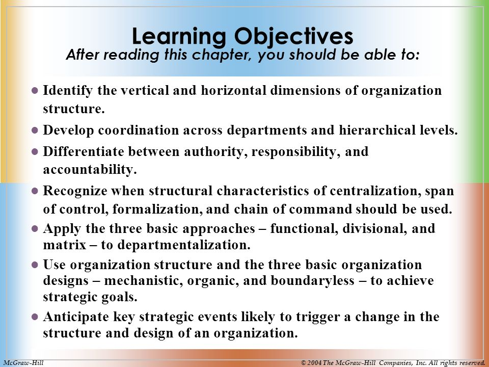 Learning Objectives After reading this chapter, you should be able to: Identify the vertical and horizontal dimensions of organization structure.
