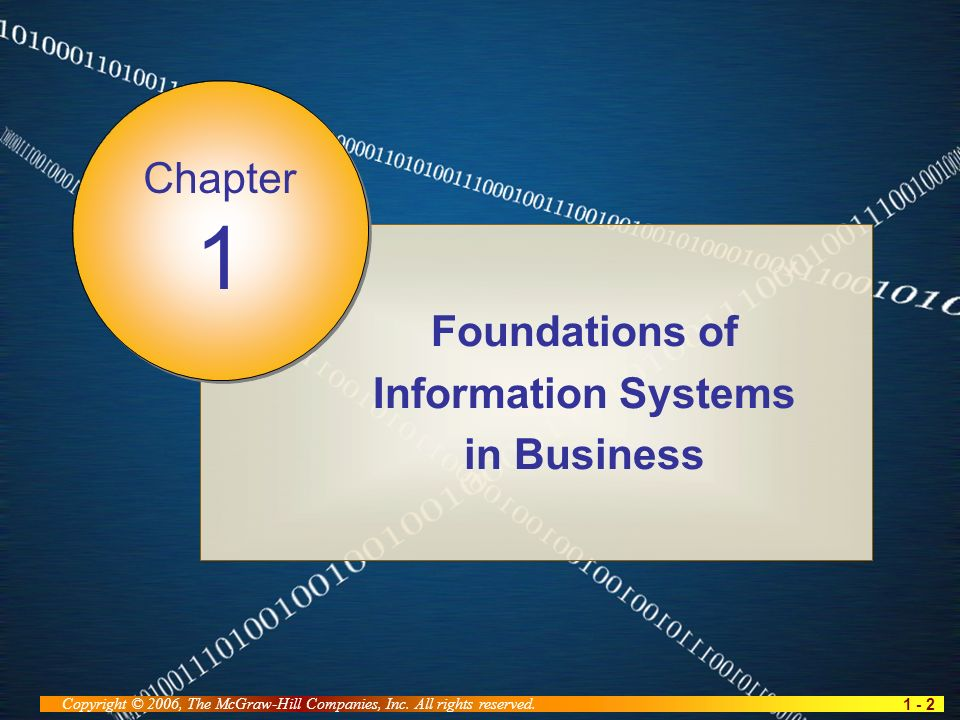 1 - 2 Copyright © 2006, The McGraw-Hill Companies, Inc. All rights reserved. Foundations of Information Systems in Business Chapter 1