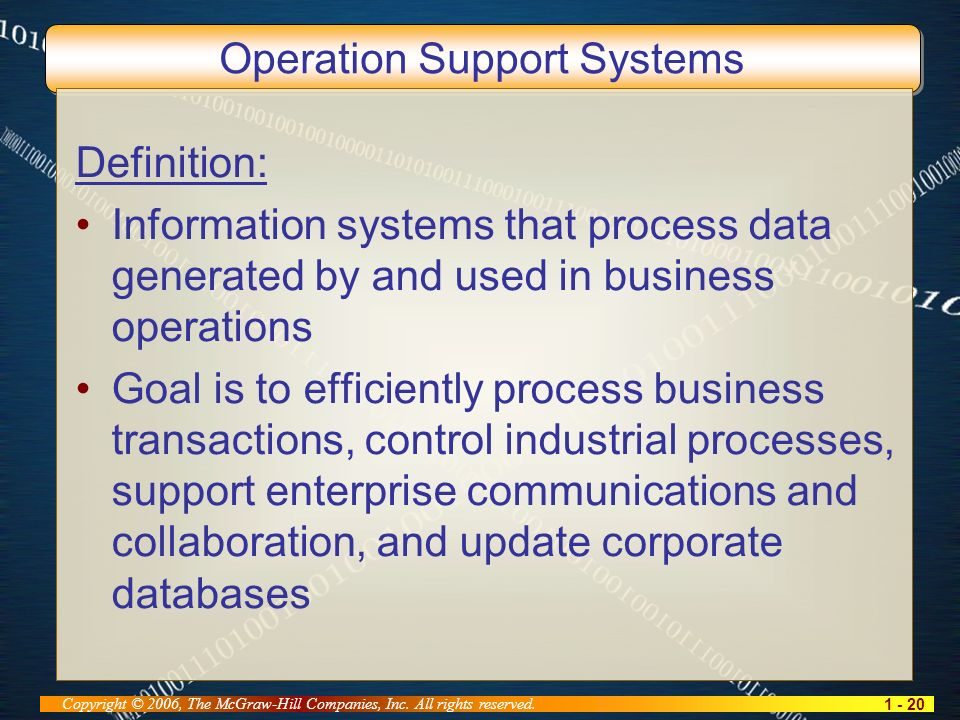 1 - 20 Copyright © 2006, The McGraw-Hill Companies, Inc. All rights reserved. Operation Support Systems Definition: Information systems that process d