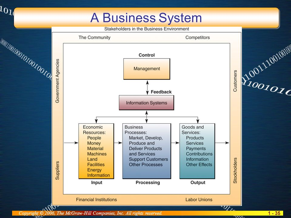 1 - 35 Copyright © 2006, The McGraw-Hill Companies, Inc. All rights reserved. A Business System