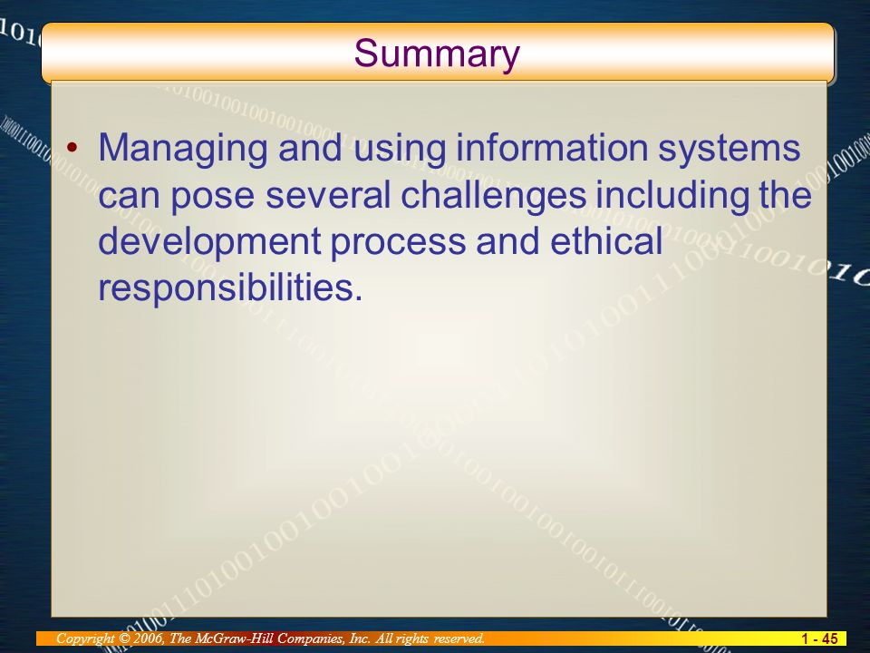 1 - 45 Copyright © 2006, The McGraw-Hill Companies, Inc. All rights reserved. Summary Managing and using information systems can pose several challeng