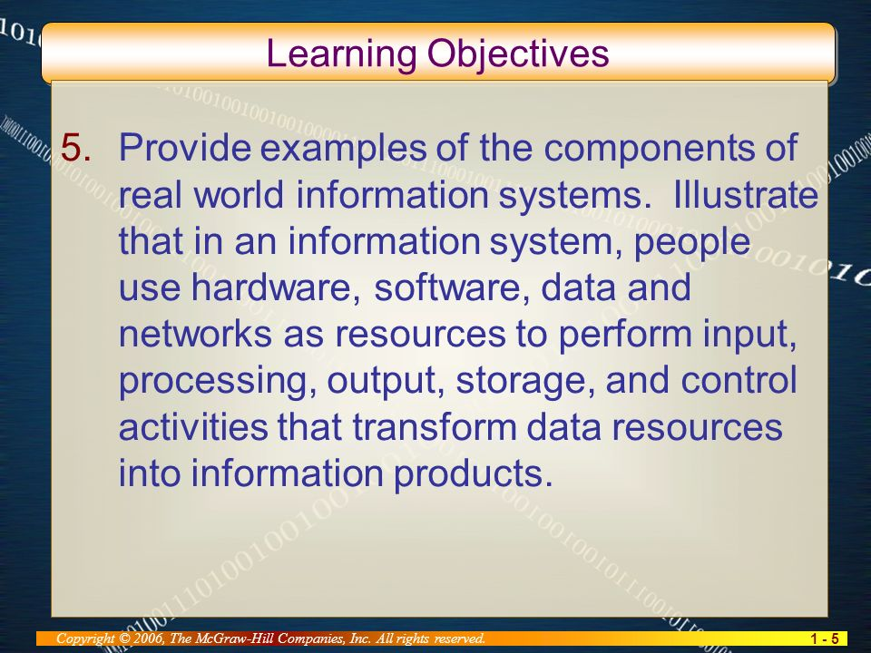1 - 5 Copyright © 2006, The McGraw-Hill Companies, Inc. All rights reserved. Learning Objectives 5.Provide examples of the components of real world in