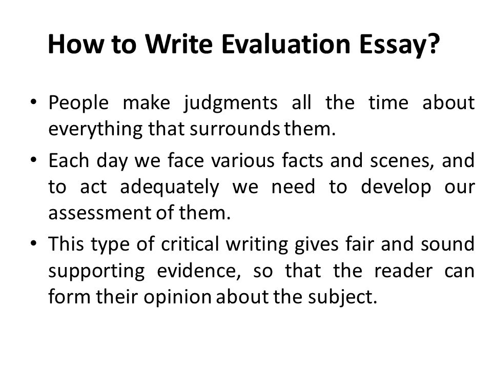 How To Write A Evaluation Essay