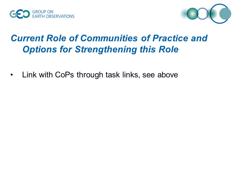 Current Role of Communities of Practice and Options for Strengthening this Role Link with CoPs through task links, see above