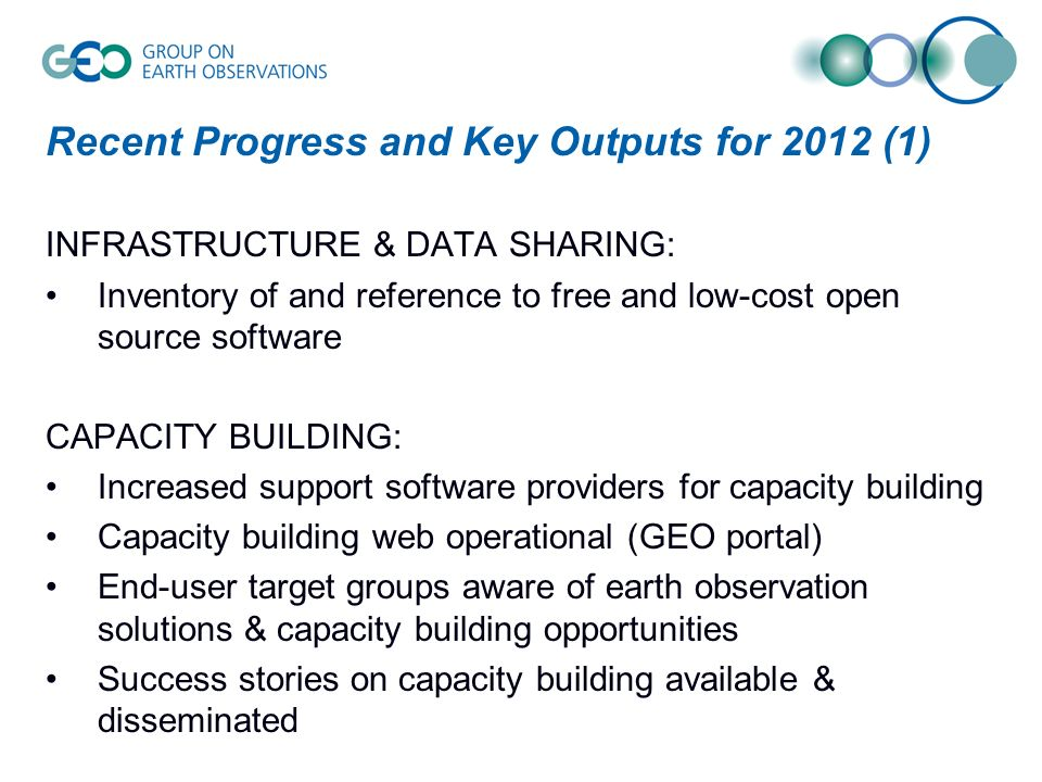 Recent Progress and Key Outputs for 2012 (1) INFRASTRUCTURE & DATA SHARING: Inventory of and reference to free and low-cost open source software CAPACITY BUILDING: Increased support software providers for capacity building Capacity building web operational (GEO portal) End-user target groups aware of earth observation solutions & capacity building opportunities Success stories on capacity building available & disseminated