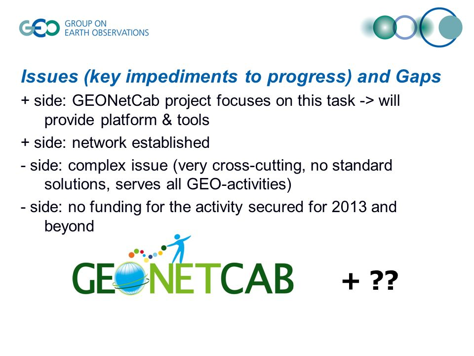 Issues (key impediments to progress) and Gaps + side: GEONetCab project focuses on this task -> will provide platform & tools + side: network established - side: complex issue (very cross-cutting, no standard solutions, serves all GEO-activities) - side: no funding for the activity secured for 2013 and beyond +