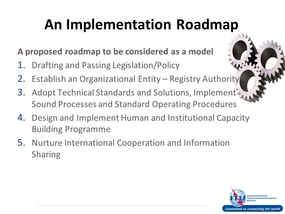 An Implementation Roadmap A proposed roadmap to be considered as a model 1.