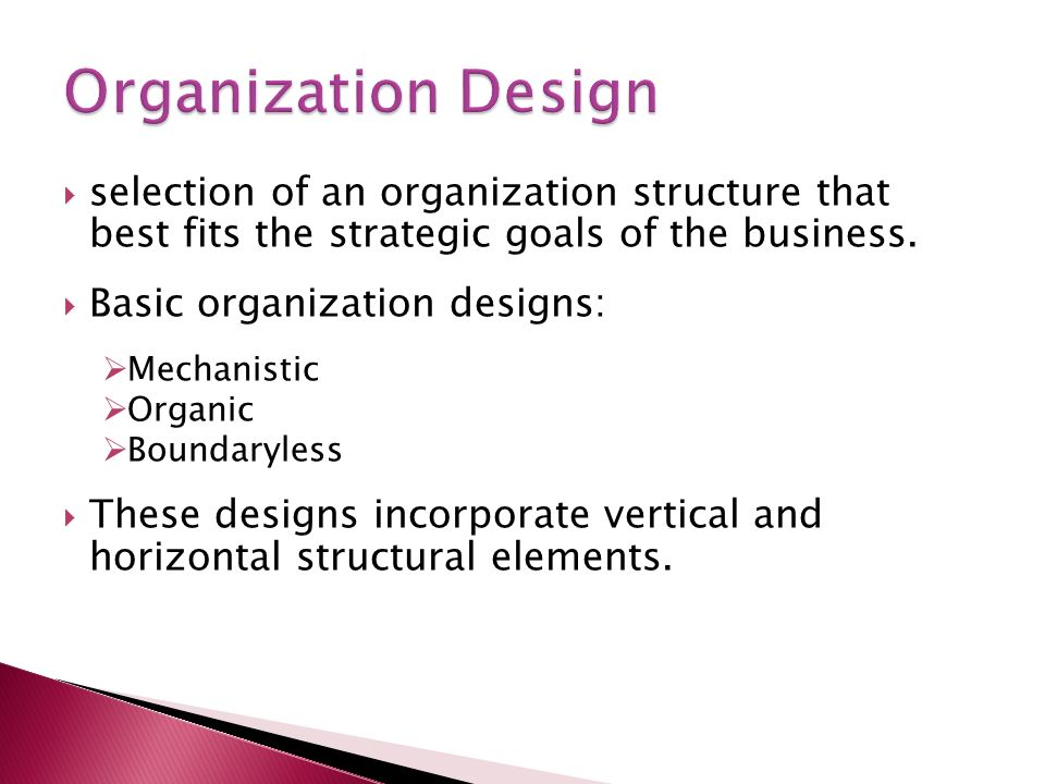  selection of an organization structure that best fits the strategic goals of the business.