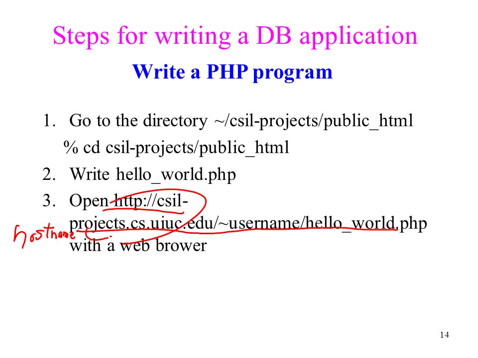 Steps for writing a DB application 1.
