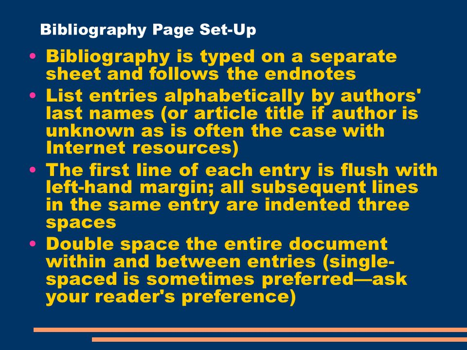 How to set up a bibliography