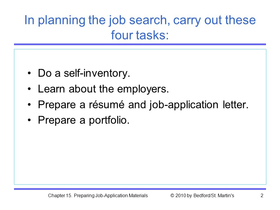Chapter 15. Preparing Job-Application Materials © 2010 by Bedford/St.