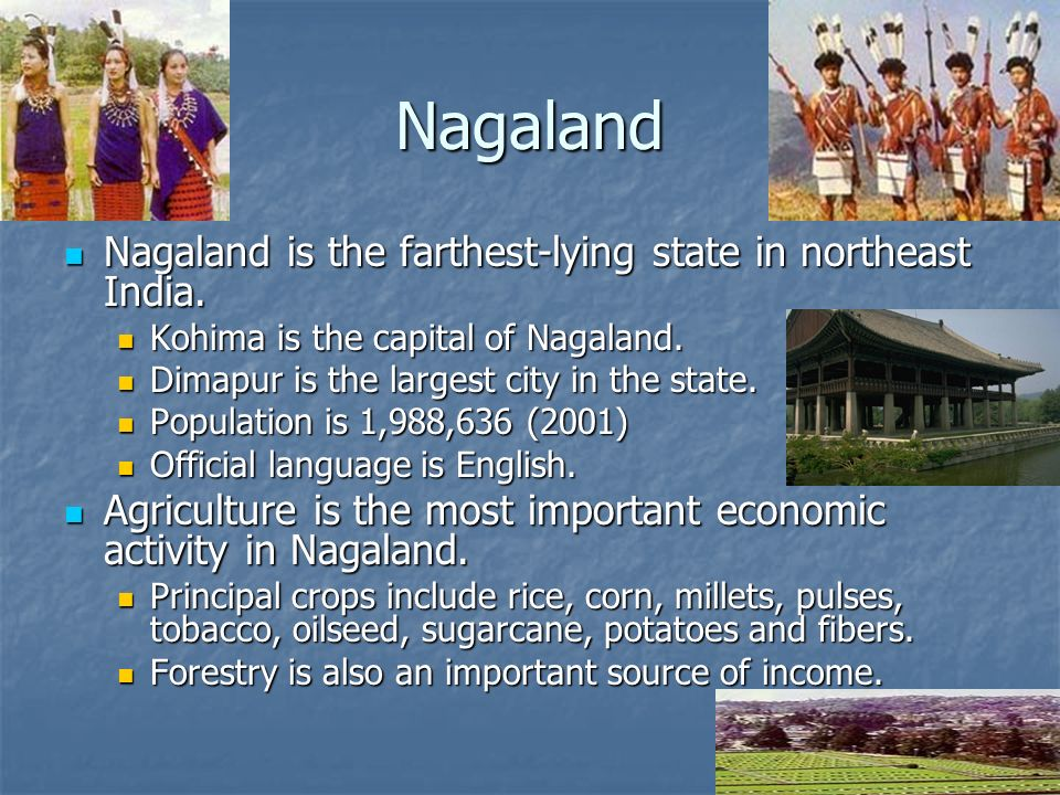 Nagaland Nagaland is the farthest-lying state in northeast India.