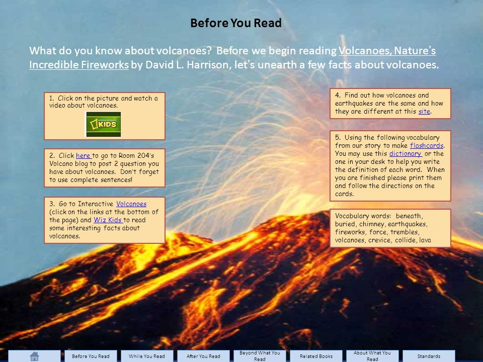 Before You Read What do you know about volcanoes.