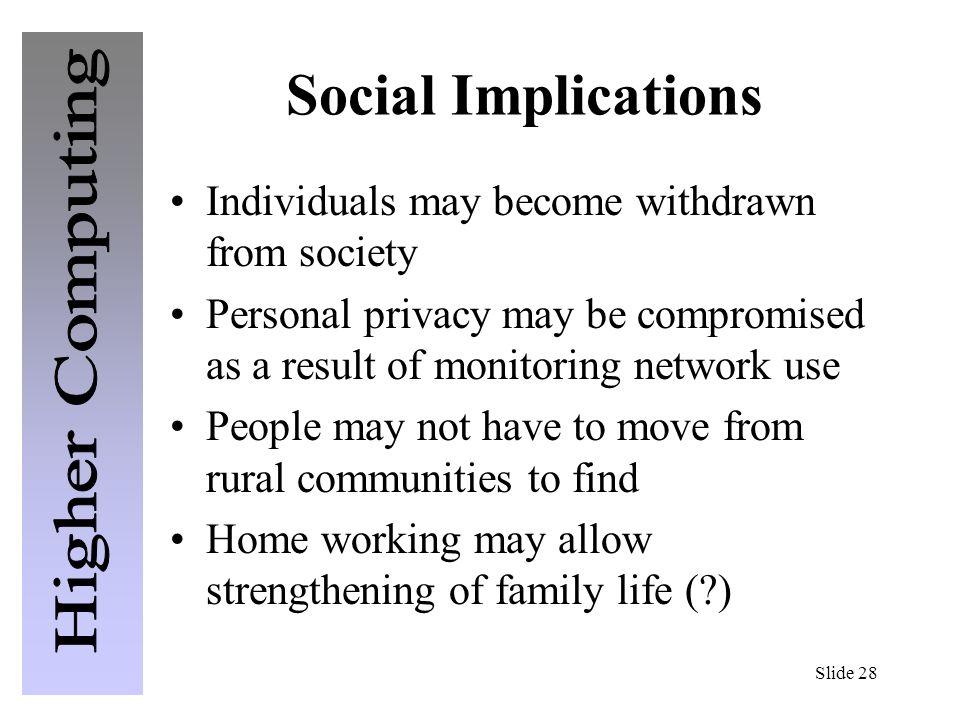 social implications of computer in a society What does social implications mean social implication of computer in the society computers in the society have made the.