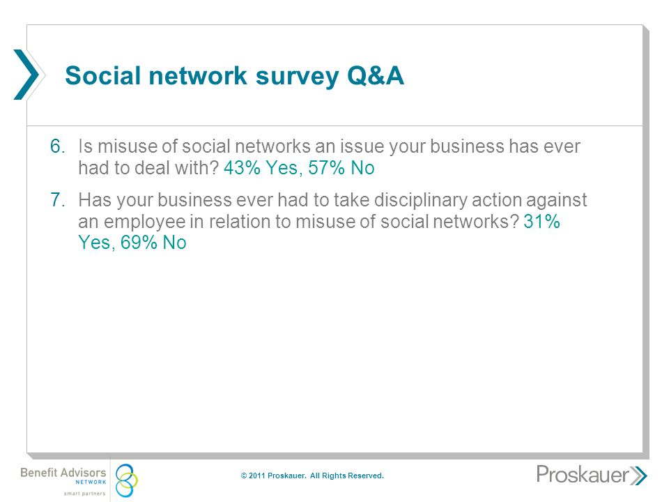 Social network survey Q&A 6.Is misuse of social networks an issue your business has ever had to deal with.