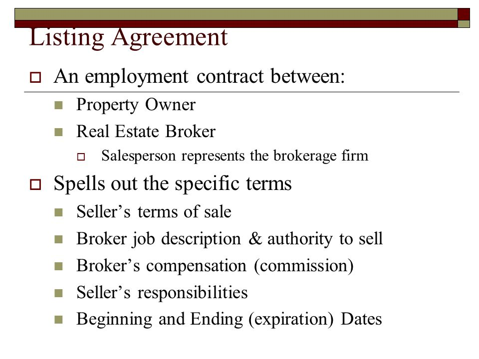 The Listing Agreement Where It All Starts  Listing Agreement  An