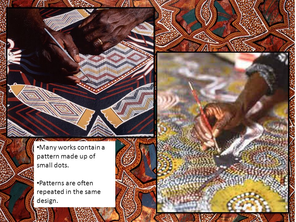 Many works contain a pattern made up of small dots. Patterns are often repeated in the same design.