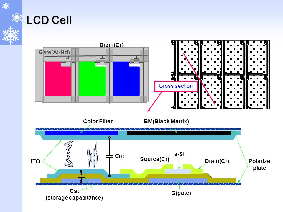 Gate(Al-Nd) Drain(Cr) ITO Source(Cr) a-Si G(gate) Cst (storage capacitance) Drain(Cr) Color FilterBM(Black Matrix) Polarize plate C LC Cross section LCD Cell