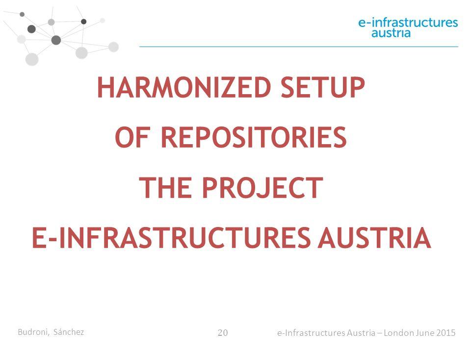 Budroni, Sánchez 20 e-Infrastructures Austria – London June 2015 HARMONIZED SETUP OF REPOSITORIES THE PROJECT E-INFRASTRUCTURES AUSTRIA