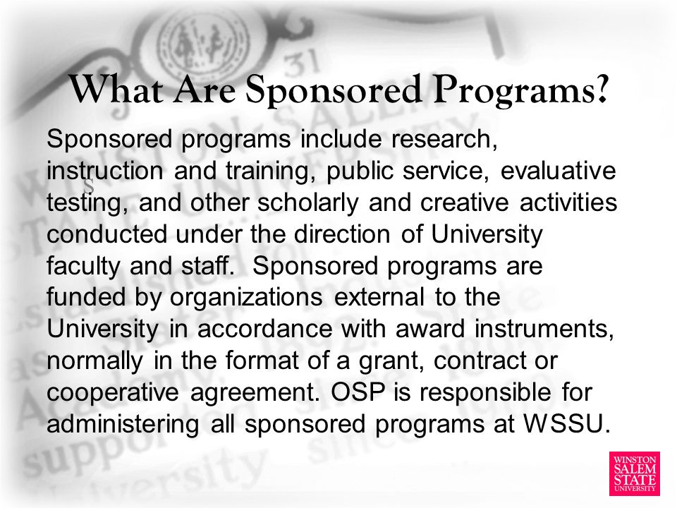 What Are Sponsored Programs.