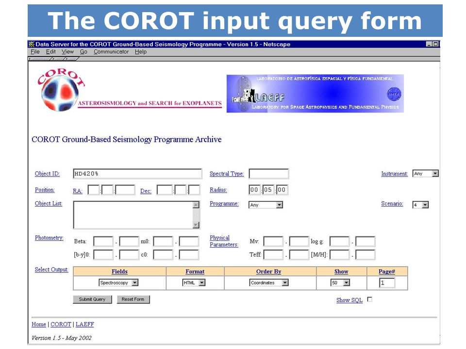The COROT input query form