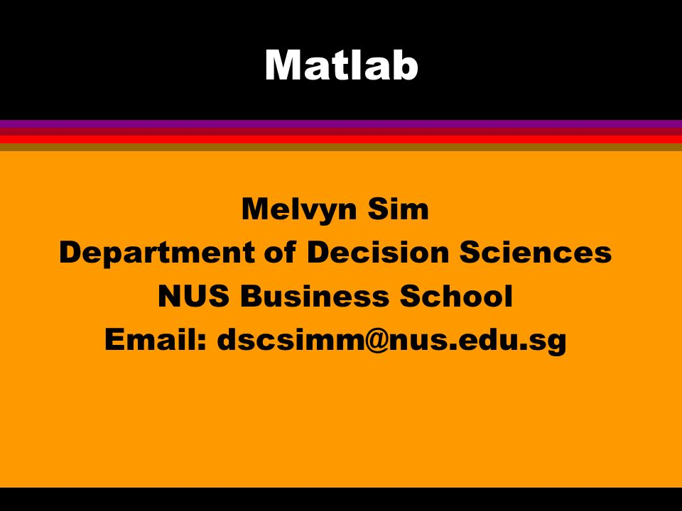 Matlab Melvyn Sim Department of Decision Sciences NUS Business School