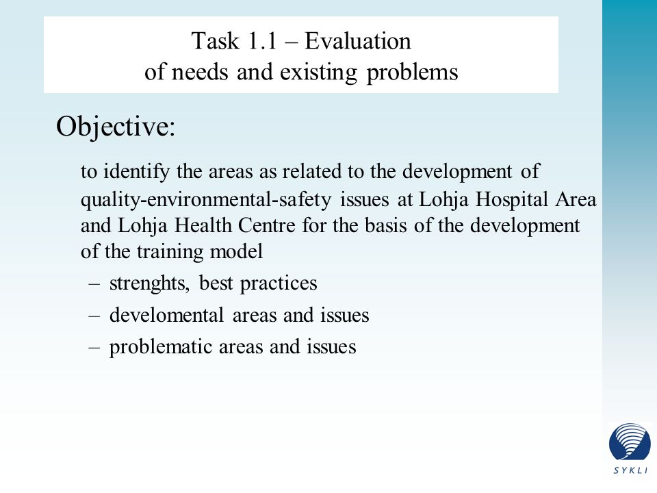 Task 1.1 – Evaluation of needs and existing problems Objective: to identify the areas as related to the development of quality-environmental-safety issues at Lohja Hospital Area and Lohja Health Centre for the basis of the development of the training model –strenghts, best practices –develomental areas and issues –problematic areas and issues