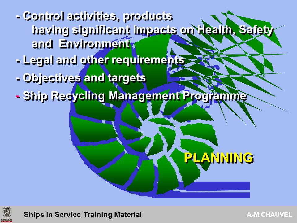 4.1 - General requirements 4.2 - Ship recycling policy 4.3 - Planning 4.3.1- Health, Safety and Environmental aspects 4.3.2- Legal & other requirements 4.3.3- Objectives & targets 4.3.4- Health, Safety and Environmental management program (s) Standard - Content Ships in Service Training Material A-M CHAUVEL