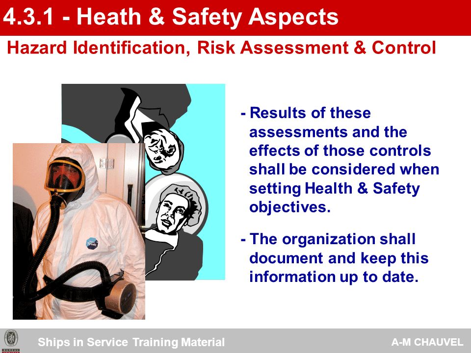 Identification of hazards, assessment of risks and implementation of control measures including : - Facilities at the workplace provide by the organization or others.