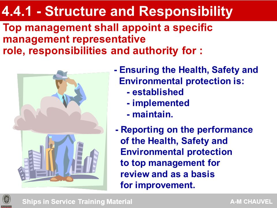- Structure & Responsibility - Training, awareness and competence - Communication - Ship Recycling System Documentation - Document control - Operational control - Emergency preparedness and response - Structure & Responsibility - Training, awareness and competence - Communication - Ship Recycling System Documentation - Document control - Operational control - Emergency preparedness and response IMPLEMENTATION & OPERATION IMPLEMENTATION & OPERATION Ships in Service Training Material A-M CHAUVEL