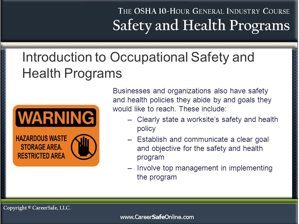 Introduction to Occupational Safety and Health Programs Businesses and organizations also have safety and health policies they abide by and goals they would like to reach.