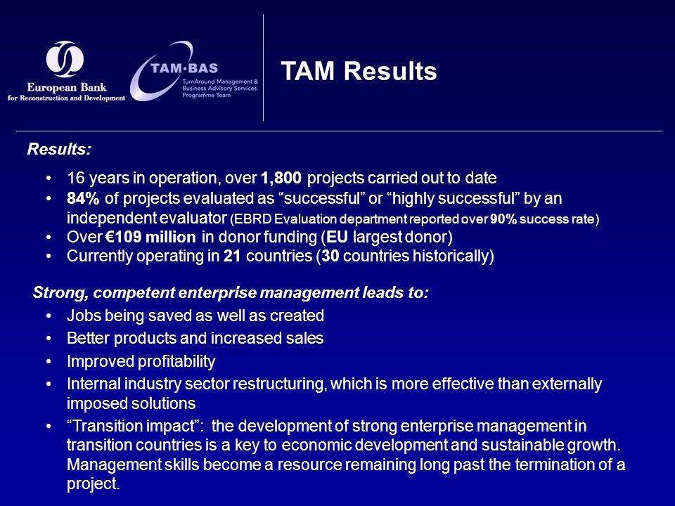 Results: 16 years in operation, over 1,800 projects carried out to date 84% of projects evaluated as successful or highly successful by an independent evaluator (EBRD Evaluation department reported over 90% success rate) Over €109 million in donor funding (EU largest donor) Currently operating in 21 countries (30 countries historically) Strong, competent enterprise management leads to: Jobs being saved as well as created Better products and increased sales Improved profitability Internal industry sector restructuring, which is more effective than externally imposed solutions Transition impact : the development of strong enterprise management in transition countries is a key to economic development and sustainable growth.
