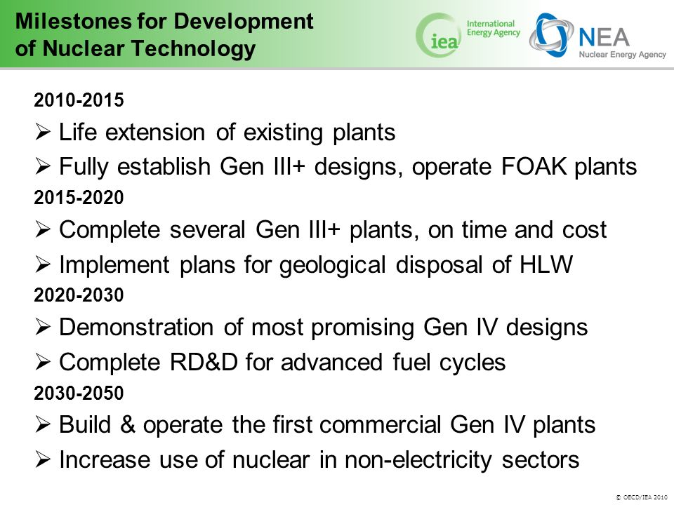 © OECD/IEA 2010 Milestones for Development of Nuclear Technology  Life extension of existing plants  Fully establish Gen III+ designs, operate FOAK plants  Complete several Gen III+ plants, on time and cost  Implement plans for geological disposal of HLW  Demonstration of most promising Gen IV designs  Complete RD&D for advanced fuel cycles  Build & operate the first commercial Gen IV plants  Increase use of nuclear in non-electricity sectors