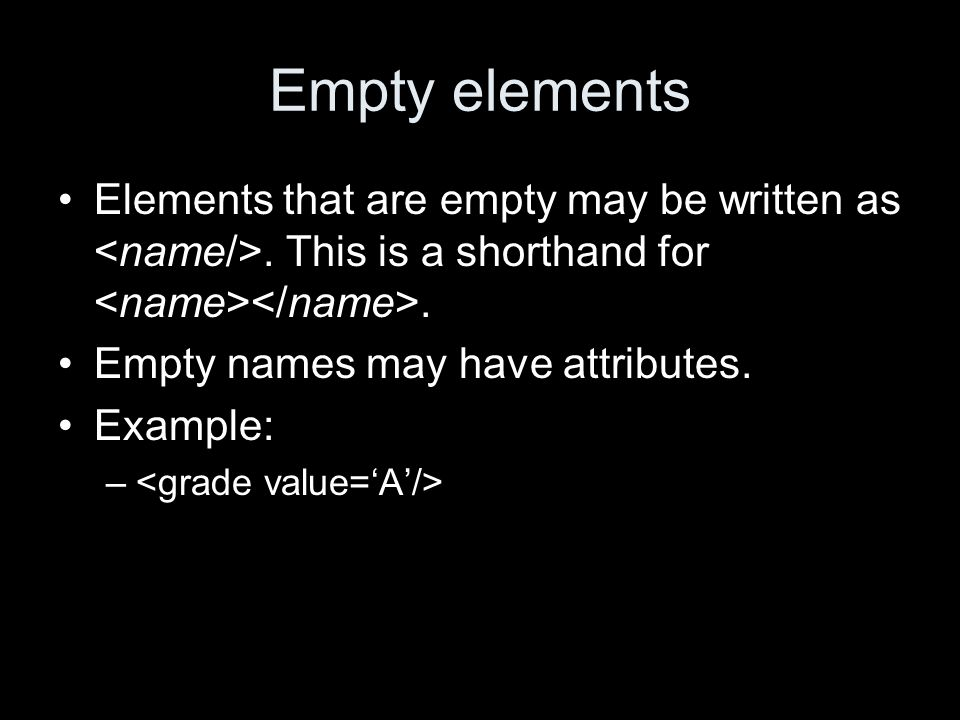 Empty elements Elements that are empty may be written as.